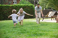 Family having fun together outdoors