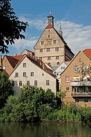 geography / travel, Germany, Baden_Wuerttemberg, Besigheim, buildings, city hall, river Enz,