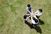 Businesspeople in a circle in field, high angle