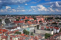 geography / travel, Poland, View of the city from St. Elisabeth´s Church, Wroclaw, Lower Silesia,