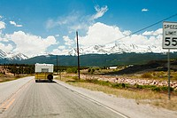 Motorhome on road, Colorado, USA