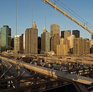 Manhattan skyline from Brooklyn Bridge, New York City