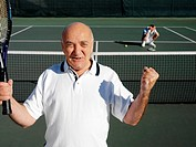 Senior Tennis Player Winning Match