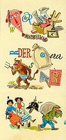 literature, picture puzzle, design by bze, final artwork, 1950s,
