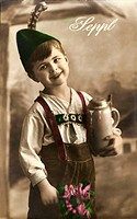 people, children, boys, boy in Bavarian outfit, forename: Sepp Joseph, Germany, circa 1913,