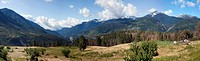 Panorama of the town of Lytton BC from the native reserve. Teepee and bio dynamic organic garden in the foreground.
