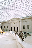A view of the roof and the interior of the British Museum in London.
