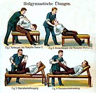 medicine, belly massage, physiotherapist massaging with circular moves the belly of a man, Germany, circa 1900,