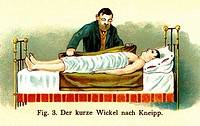 medicine, treatment, house visit of a doctor, patient with body compress, Germany, circa 1902,