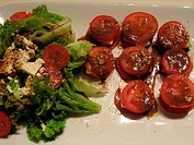 tomato dish and salad