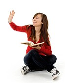 waving girl with book