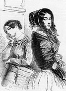 fashion, 19th century, ladies fashion, France, La Parisienne, wood engraving Henri Valentin, circa 1860,