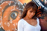 Beautiful Mature Black Woman with Graffiti 9