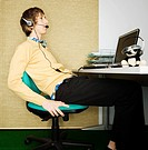 Office Worker with Telephone Headset