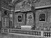 architecture, castles, Versailles Palace, interior view, sleeping room of King Louis XIV, wod engraving, 19th century,