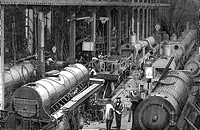 industry, locomotive construction, Stephenson Locomotive Manufactory, Newcastle_on_Tyne, interior view, workshop, wood engraving, 1864,