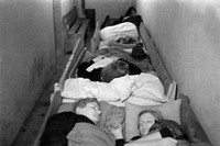events, Second World War / WWII, aerial warfare, Germany, civilians sleeping in an air raid shelter, circa 1944,