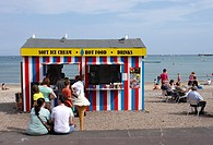 Ice Cream and Hot Food kiosk at Weymouth beach Dorset