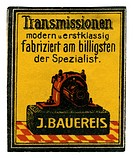 advertising, stamps, Transmissionen, J. Bauereis, Germany, circa 1910,
