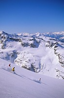 Skiers in Whistler back country, Coast Mountains, British Columbia, Canada.