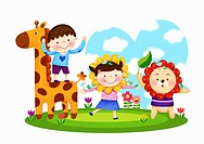 The image of Kids playing with giraffe and lion