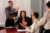 Businessmen Applauding Excited Co_Worker