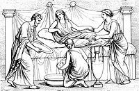 people, professions, midwife, in ancient Greece, wood engraving, 19th century,