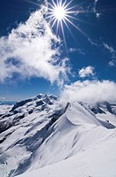 Summit view from a mountain of 4000 m, Breithorn 4164 m, Zermatt, Switzerland