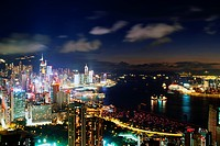 Victoria Harbor and Hong Kong Skyline at Night