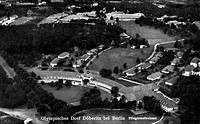 sports, olympic games, Berlin 1._ 16.8.1936, Olympic Village near Doeberitz, Brandenburg, aerial view, declassified 13.7.1936, picture postcard,