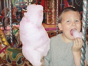 Boy Eating Cotton Candy