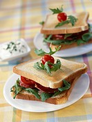 Bacon and rocket toasted sandwich