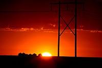 Gorgeous sunset behind Saskatchewan power towers
