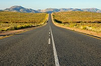 Dead straight asphalt ribbon of the national road N7 near Springbok in Northern direction towards the border with Namibia, South Africa