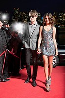 Celebrity walking on red carpet
