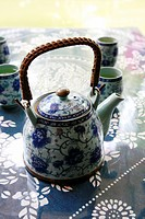 White and blue china tea set
