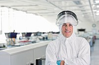 Scientist wearing protective gear in lab
