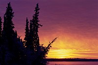 The sun rises over the winter landscape near Great Slave Lake in Canada.