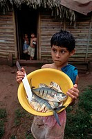 A boy stands holding a bowl full of fish he has cut with a knife outside a hut.