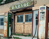 Abandoned Gas Station and Old Fuel Pumps