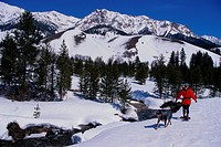 Woman Snowshoeing in Mountains with Dog