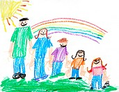 Kids Primitive Crayon Drawing of a Family