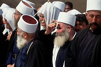 Mourners at the funeral of Sheikh Amin Tarif who was the head of the Druze religious sect.