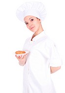 female chef and cake