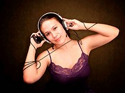 Pretty Girl in Purple on Green Background with personal audio de