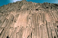 A rock face broken into columnar chunks, from the Negev Desert near Maktesh Ramon. Israel