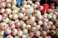 Raw onions, Bolhao old market in Porto, Portugal