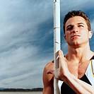 Pole Vaulter Holding Pole