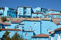 Juzcar in blue, in the Serrania of Ronda. Málaga province