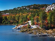 Beautiful fall nature scenery of lake Lumsden at Killarney Provincial Park, Ontario, Canada